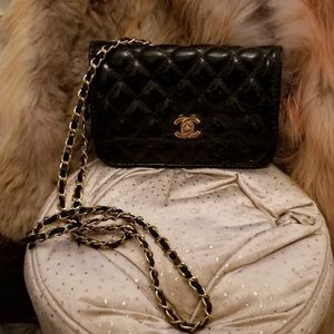 Black patent Quilted Paris cross-body chain bag